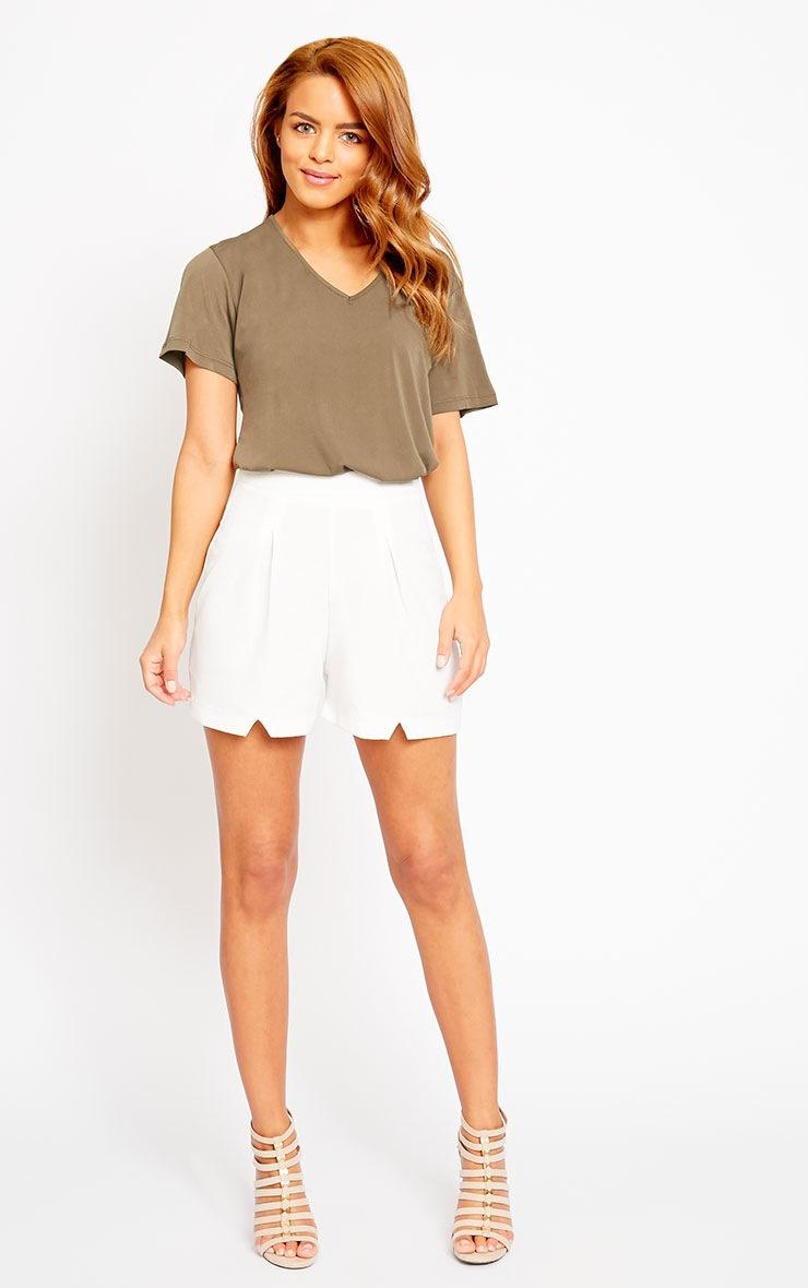 Raissa Ivory Notch Front High Waist Shorts 5