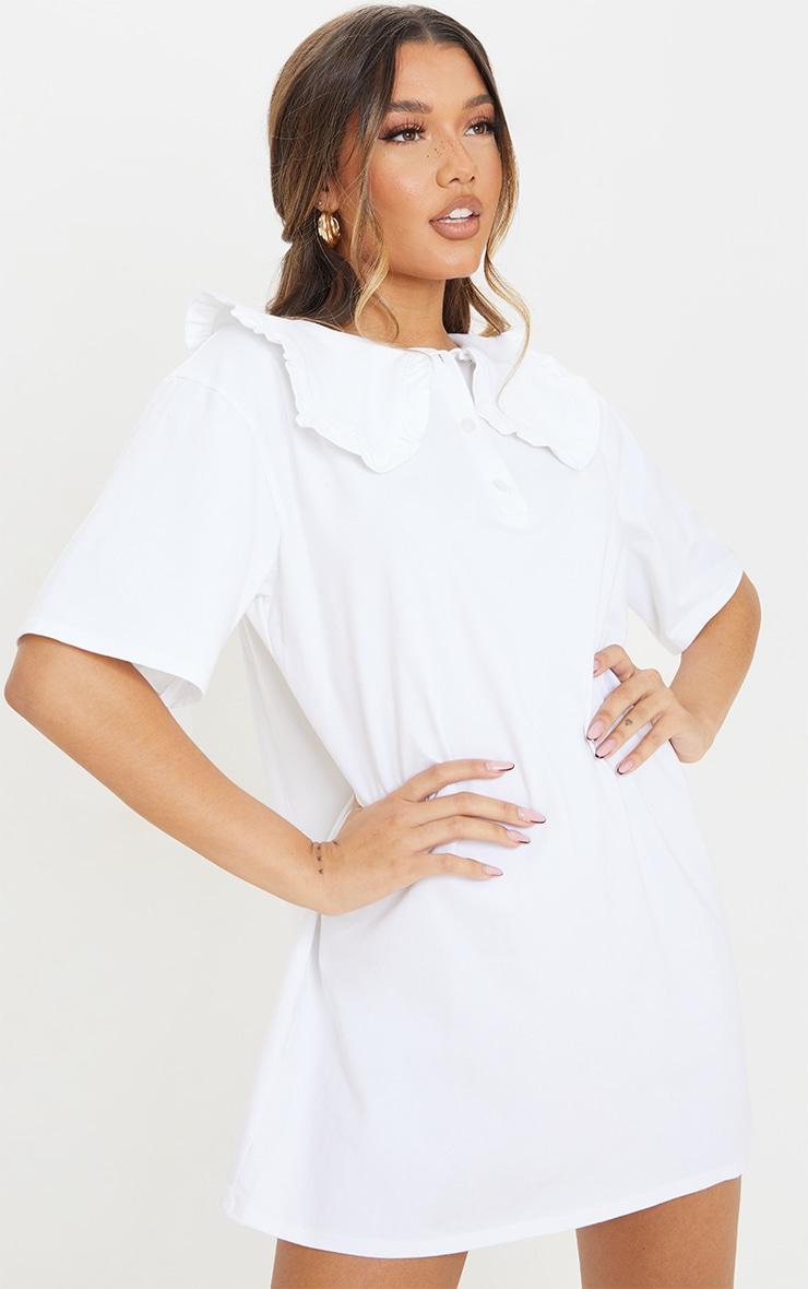 White Cotton Frill Collar Short Sleeve T Shirt Dress 1