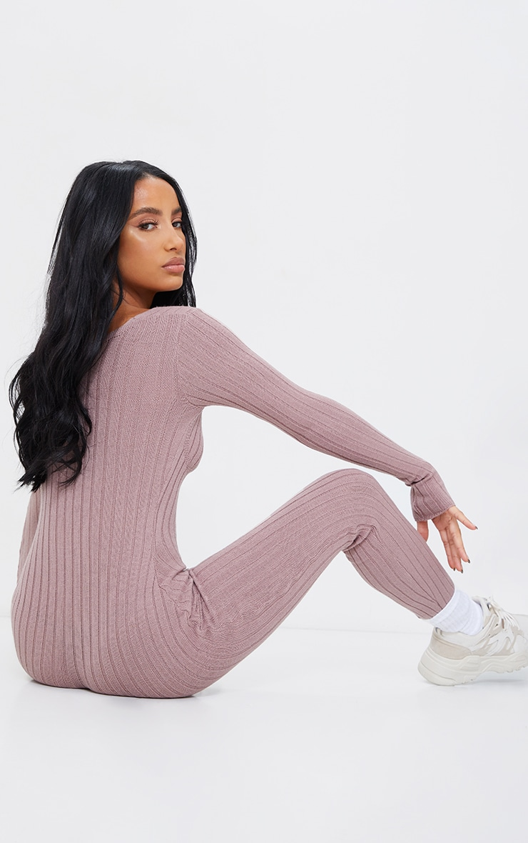 Mocha Bust Detail Ribbed Knitted Fitted Jumpsuit 2