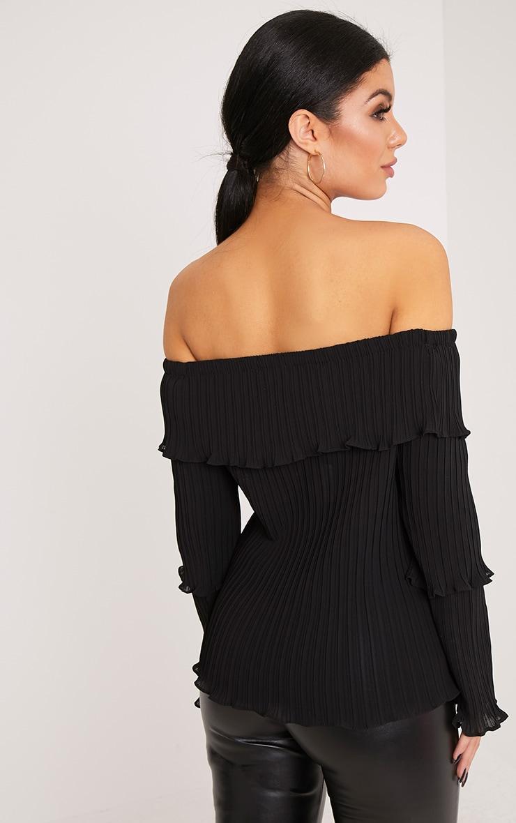 Carly Black Pleated Bardot Frill Sleeve Blouse 2
