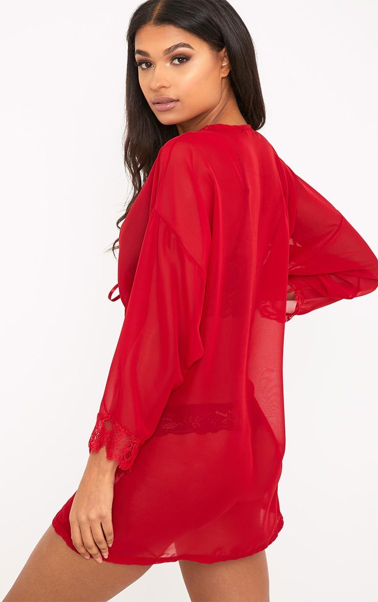 Hazel Red Chiffon Short Dressing Gown 2
