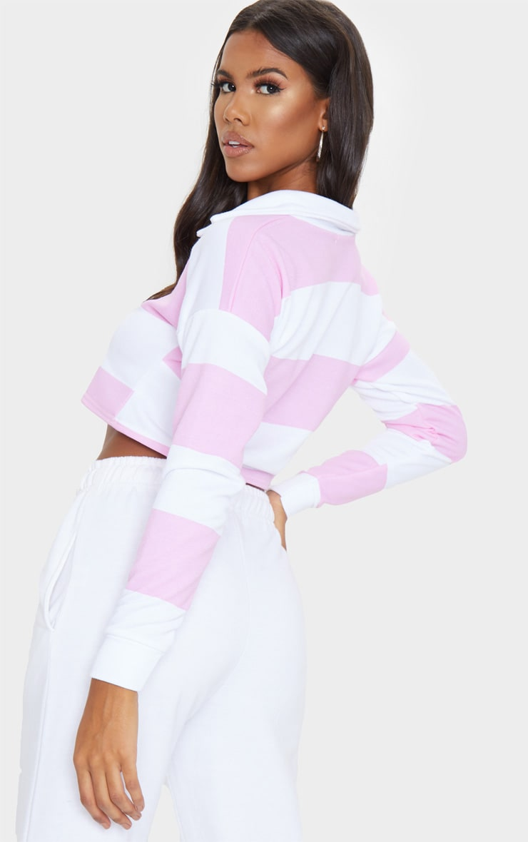 Baby Pink Stripe Collar Polo Long Sleeve Crop Top 2
