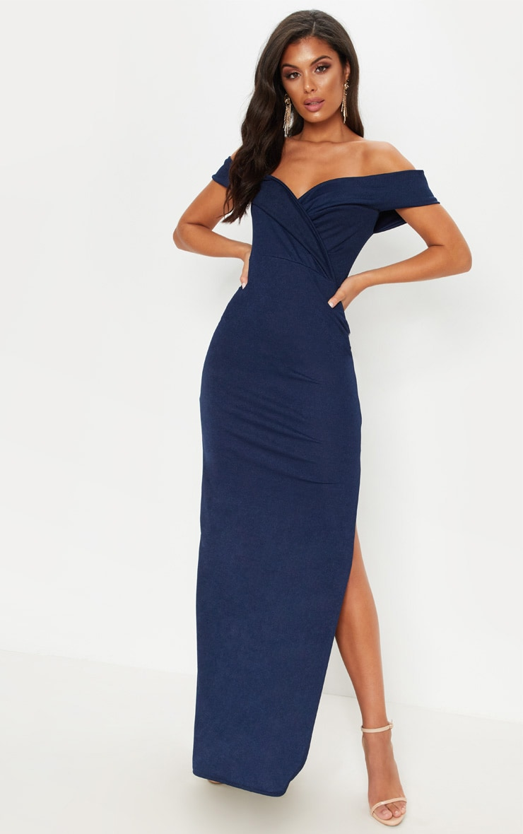 Navy Bardot Fold Detail Extreme Split Maxi Dress 1