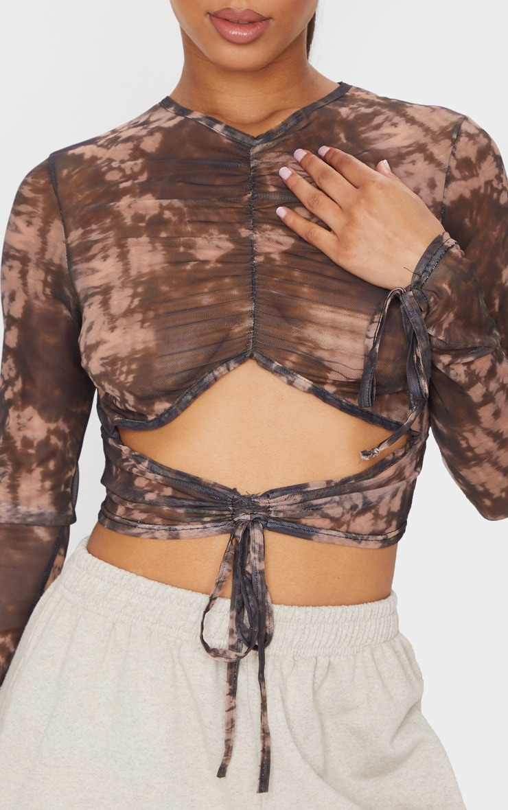 Black Mesh Tie Dye Print Ruched Cut Out Top 4