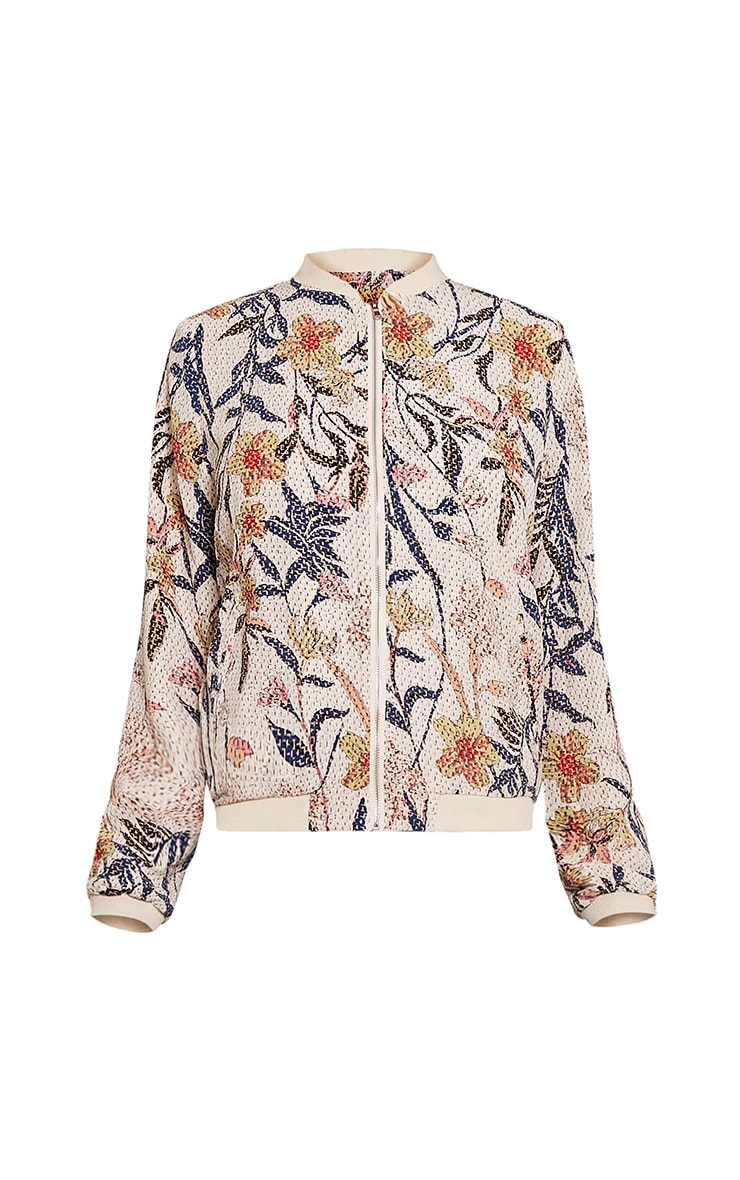 Danyelle Beige Floral Abstract Printed Bomber Jacket 3