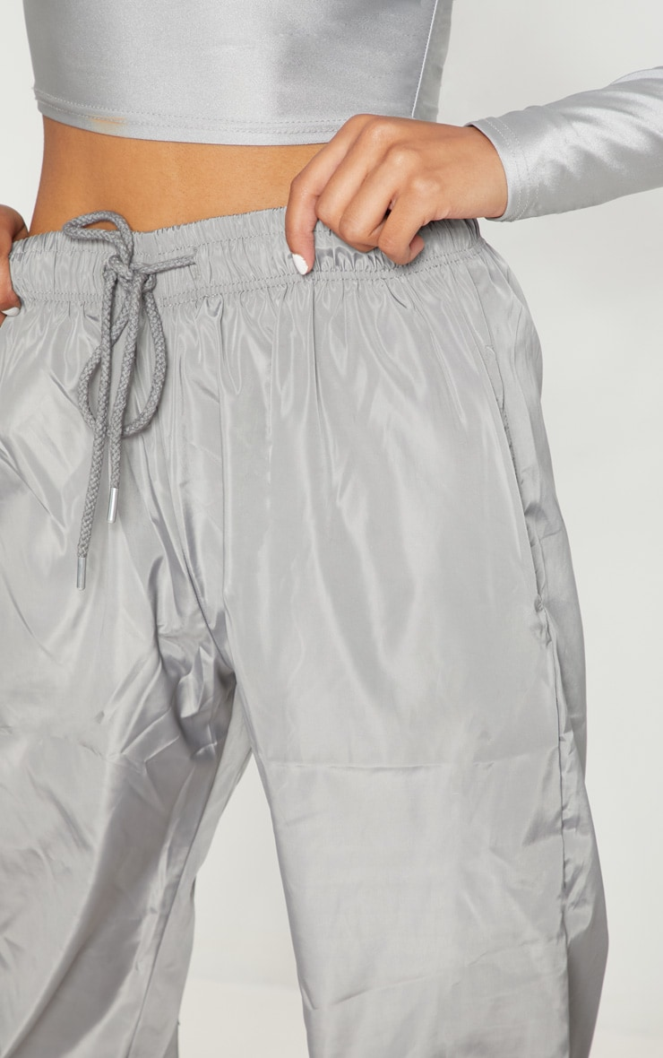 Silver Grey Drawstring Waist Shell Trouser 5