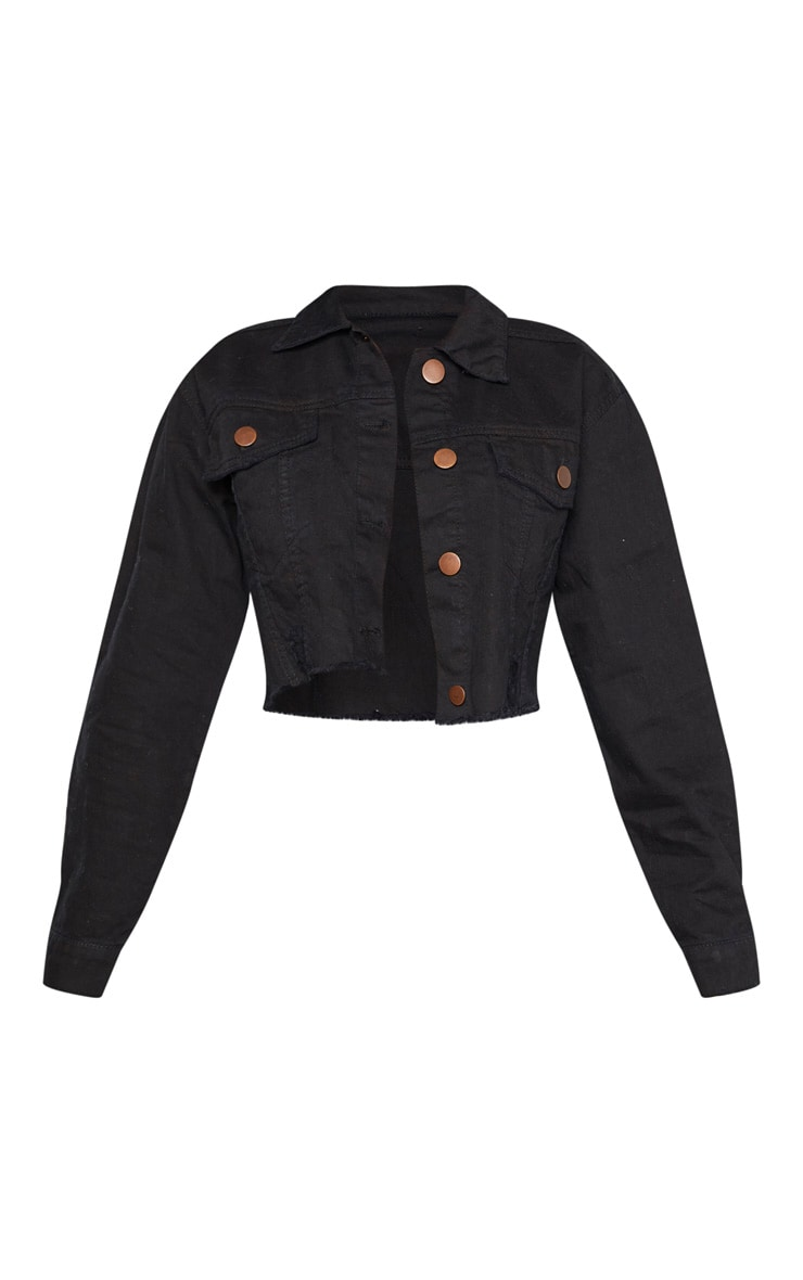 Petite Black Raw Edge Cropped Denim Jacket 3