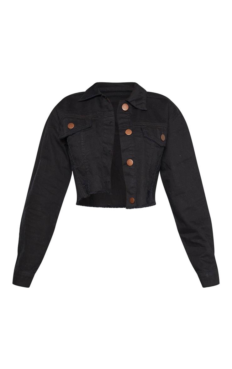Petite - Veste courte en jean noir à bordure déchirée 3