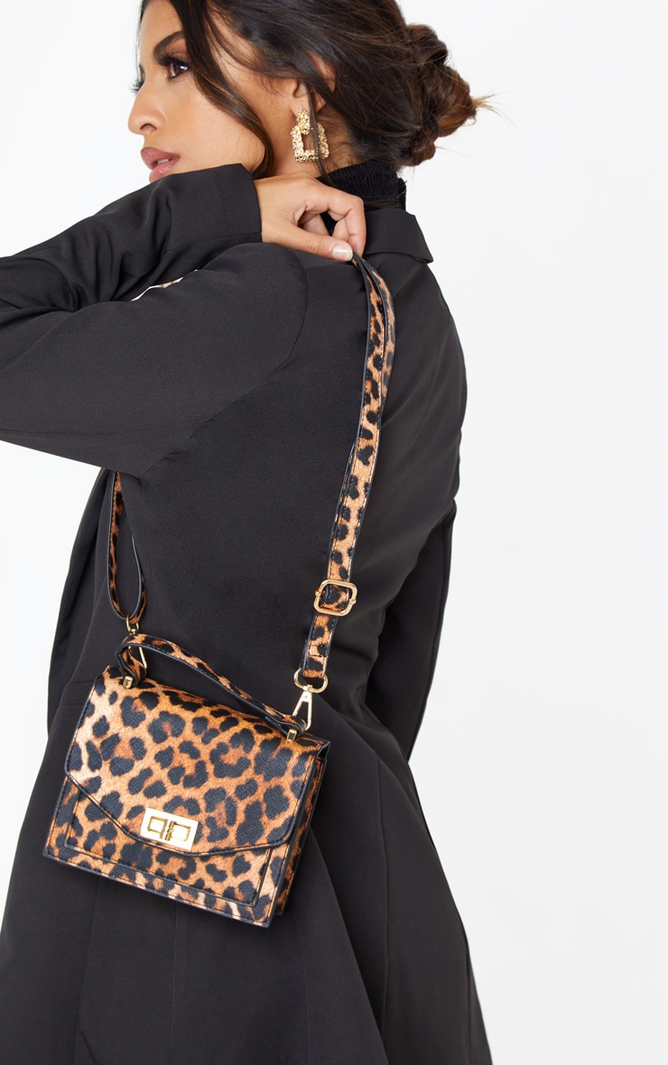 Leopard PU Box Cross Body Bag 1