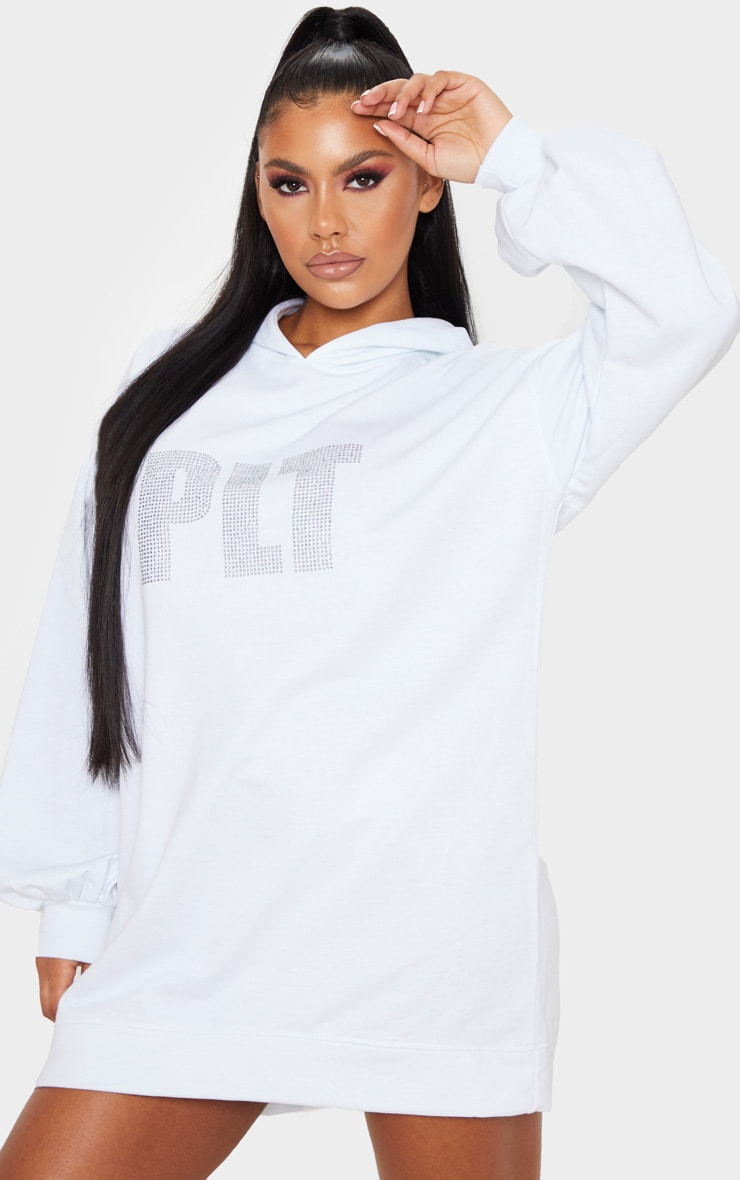PRETTYLITTLETHING White Diamante Slogan Hoodie Dress 1
