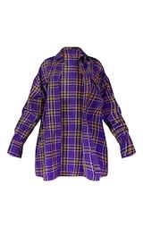 Purple Unisex Check Flannel Oversized Shirt 6