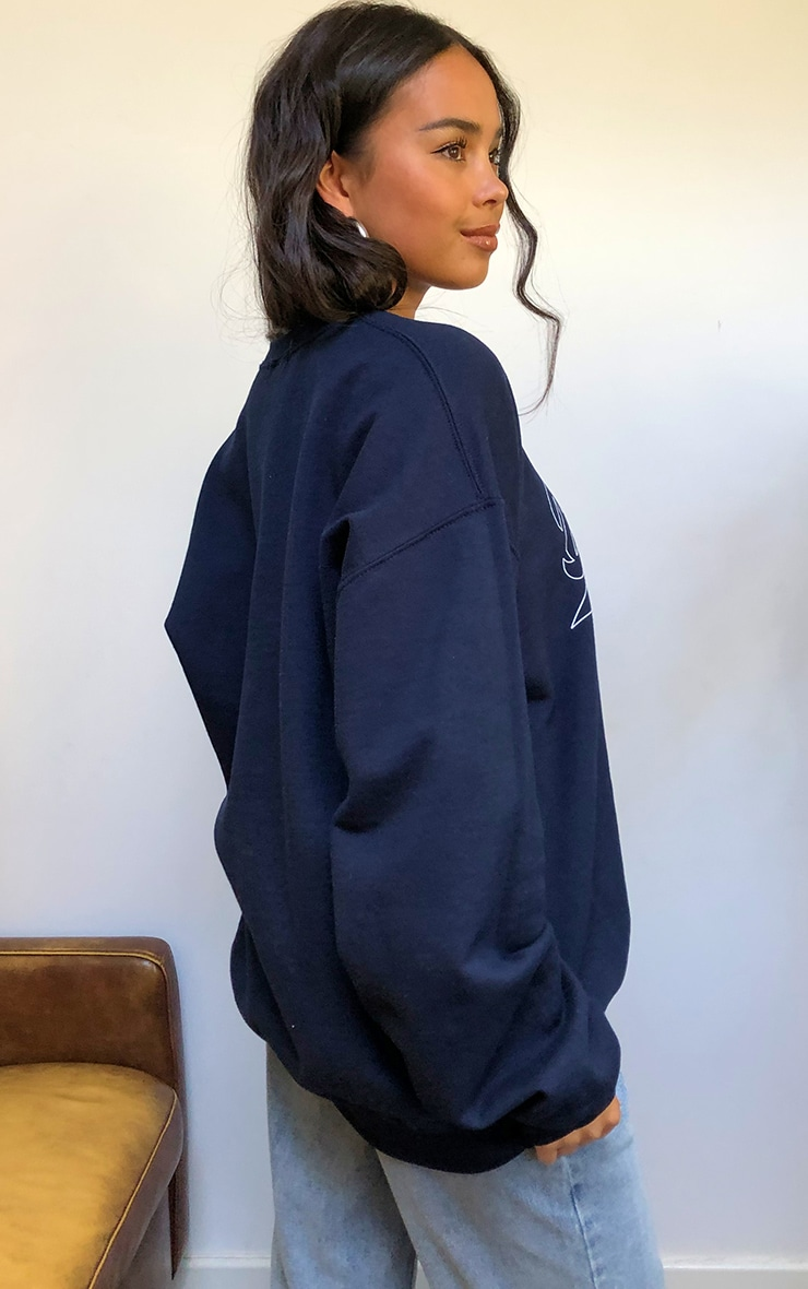 Navy Brooklyn Slogan Sweatshirt 2