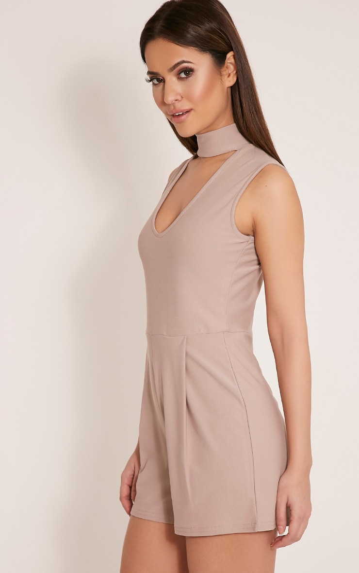 Hilery Taupe Neck Detail Plunge Playsuit 4