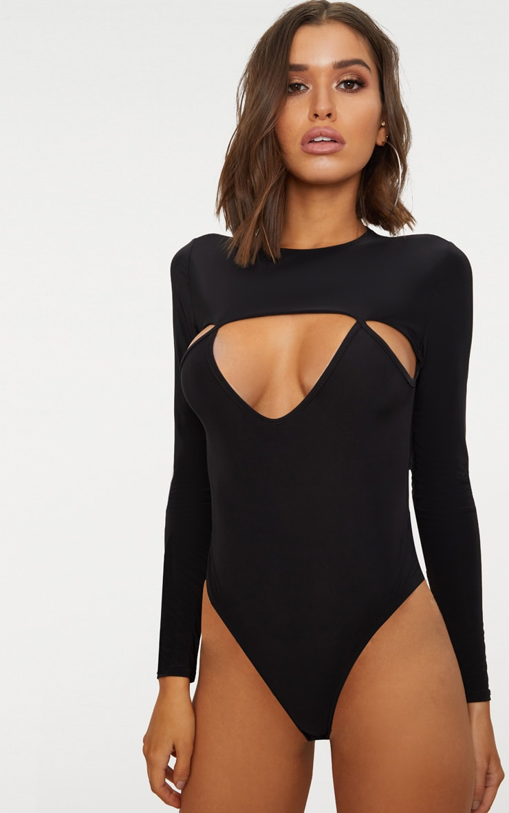 Black Slinky Cut Out Long Sleeve Thong Bodysuit  2