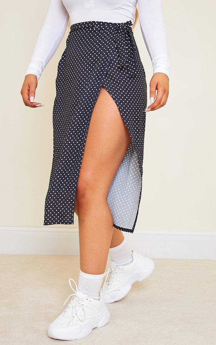 Black Wrap Around Polka Dot Midi Skirt 2