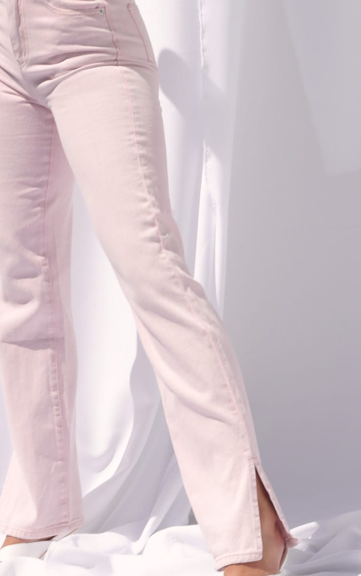 Washed Pink Split Hem Jeans 4