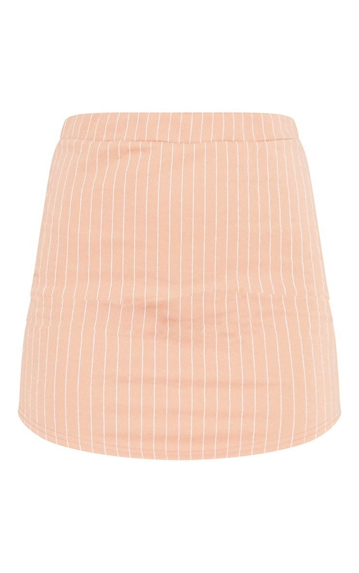 RECYCLED Pale Tan Pinstripe Sweat Bodycon Skirt 3