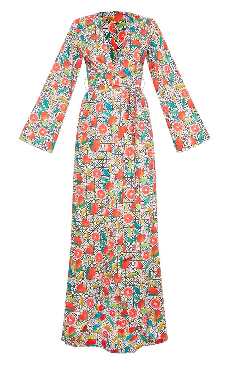 White Fruit Geometric Print Kimono Maxi Dress 3