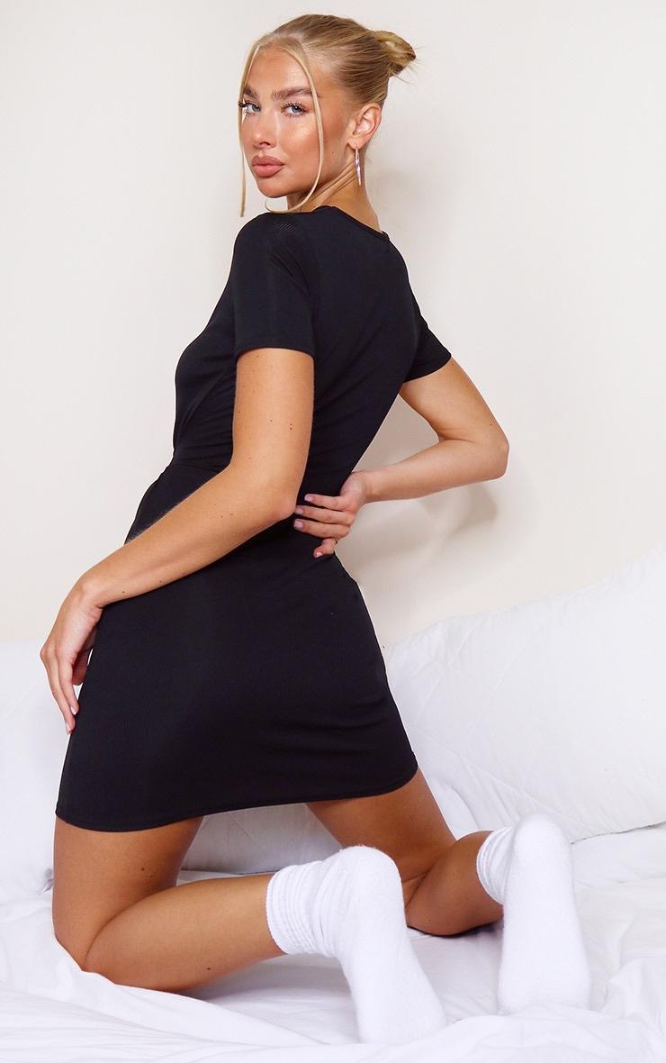 Black Rib T Shirt Tie Waist Dress 2