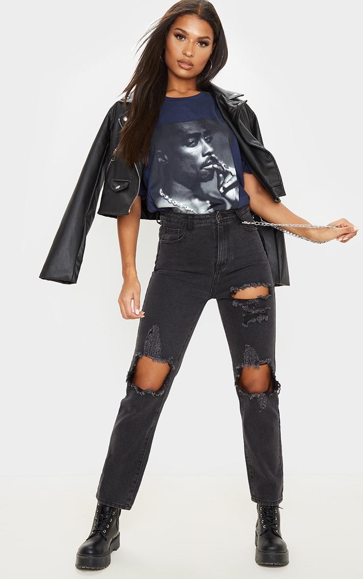 Navy Tupac Portrait Print T Shirt 4
