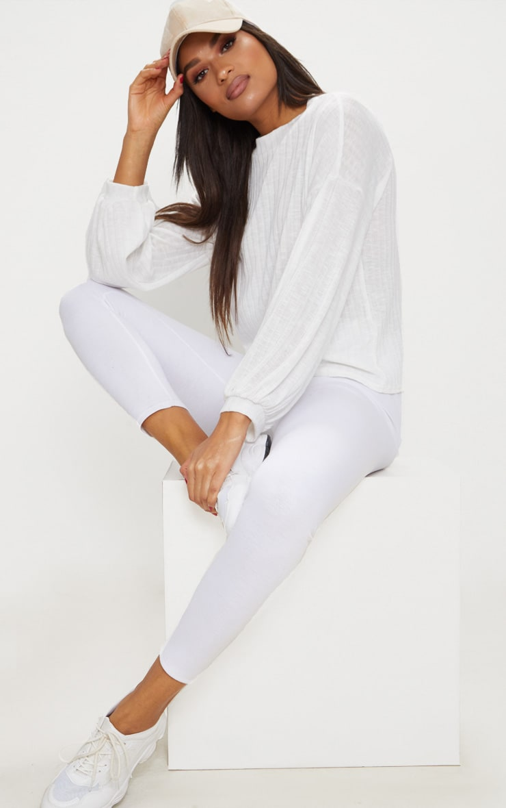 Cream High Neck Rib Long Sleeve Top  1