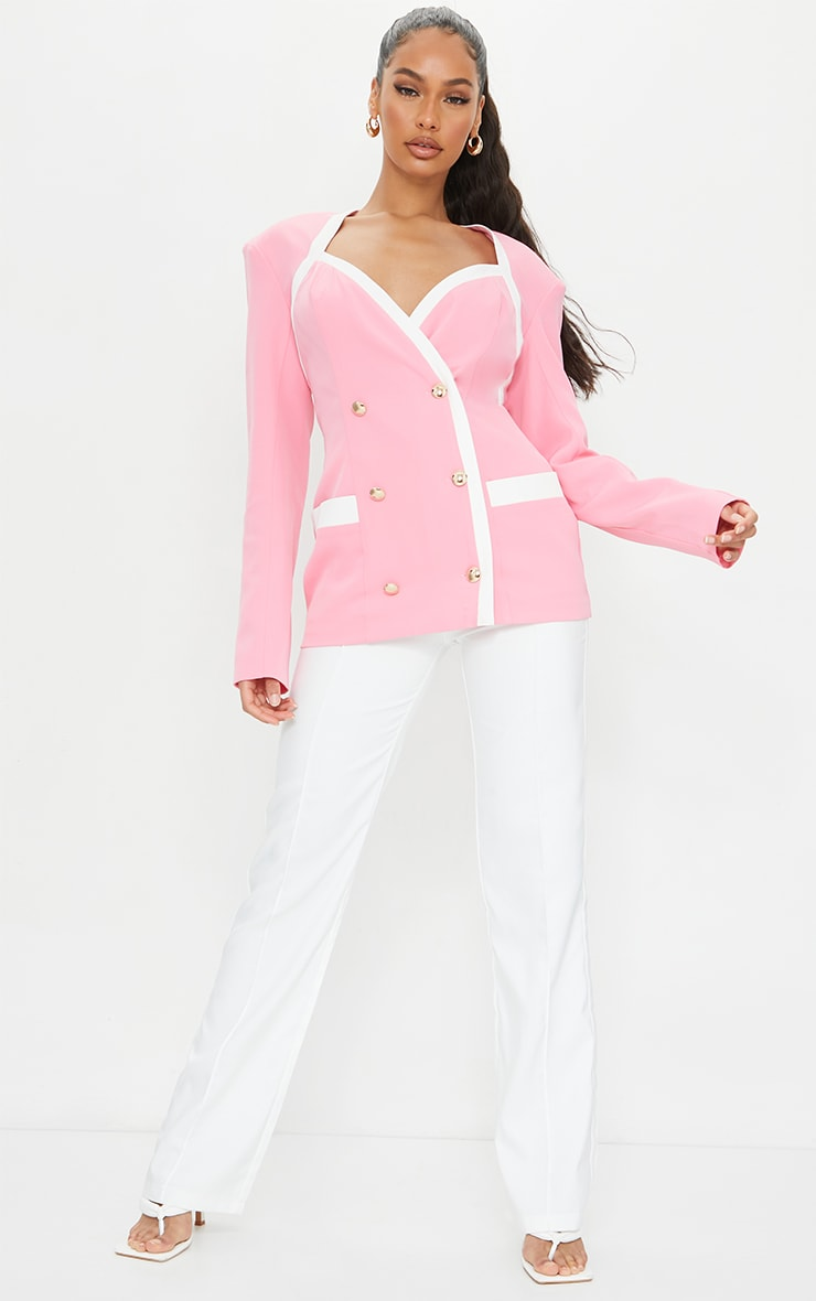 Baby Pink Woven Contrast Military Shoulder Padded Blazer 3