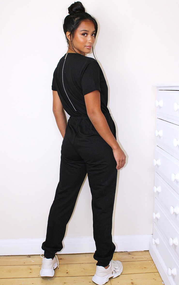 Petite Black Sleeve Sweat Jumpsuit 2