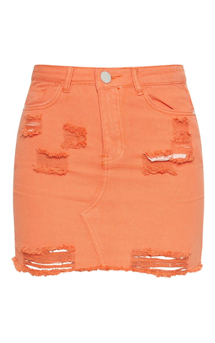 Orange Distressed Denim Mini Skirt 3