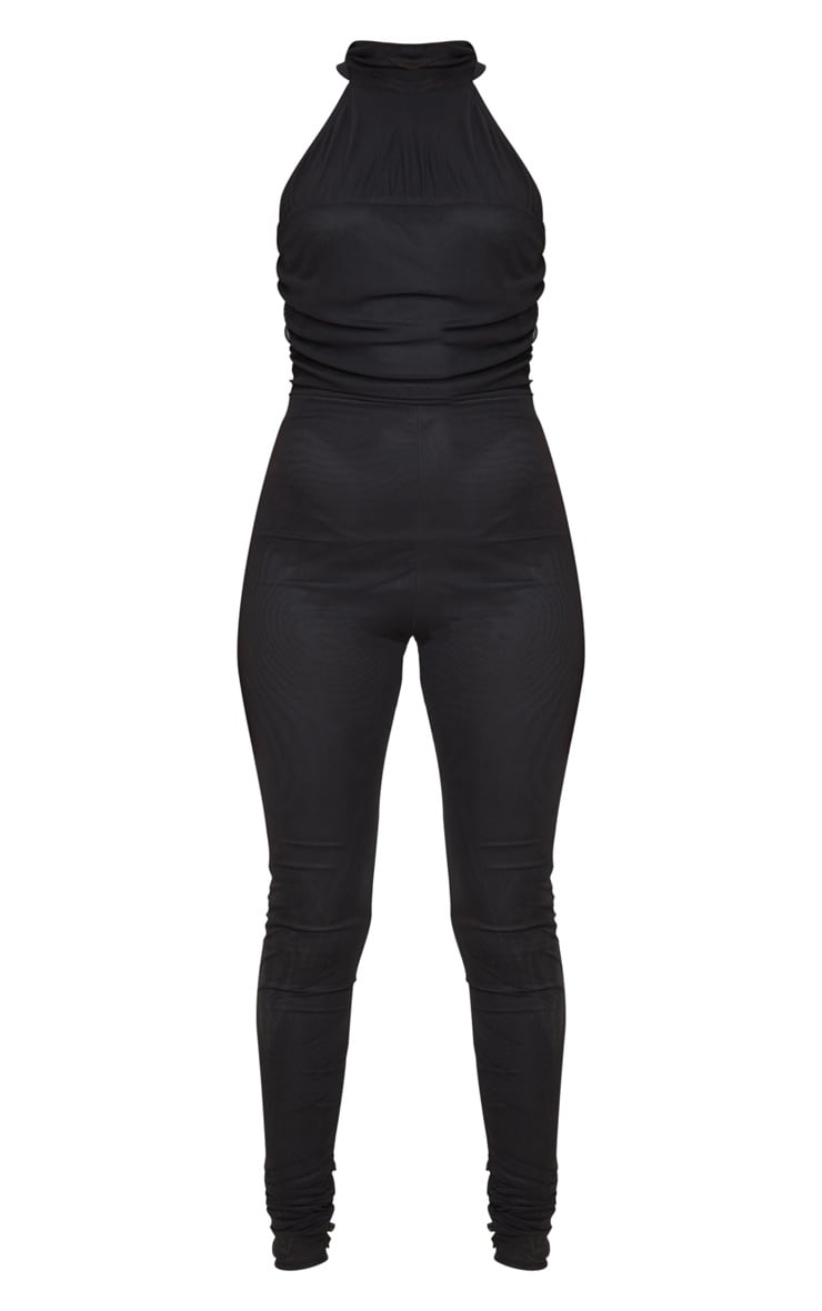 Black Ruched Mesh High Neck Jumpsuit 5