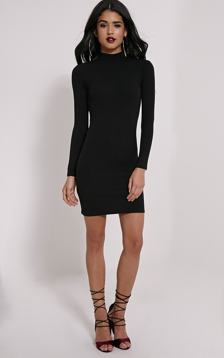 Melodie Black Ribbed Zip Back Dress 3