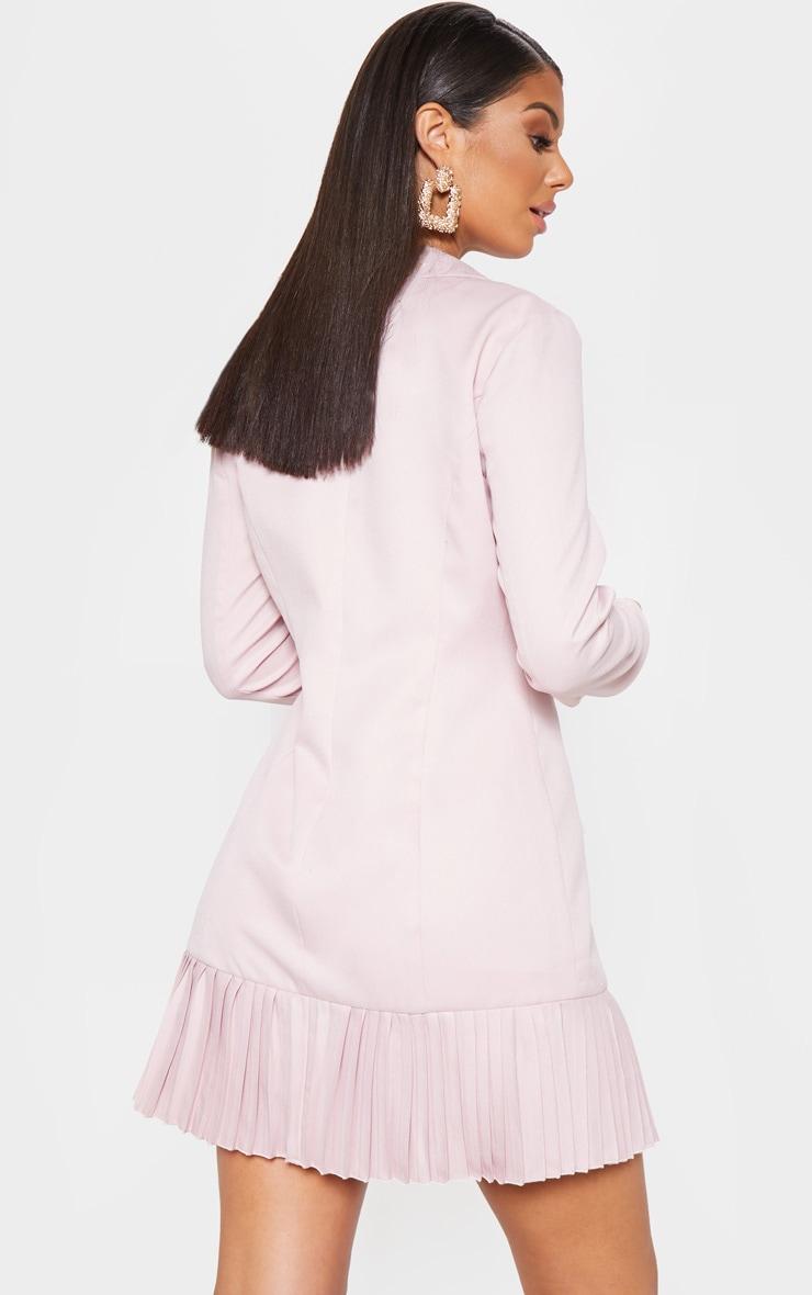 Dusty Pink Pleated Hem Button Detail Blazer Dress 2