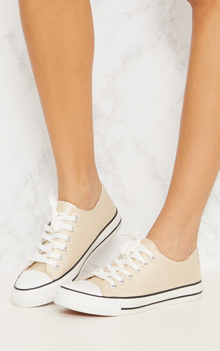 Gold Lace Up Front Trainer 2