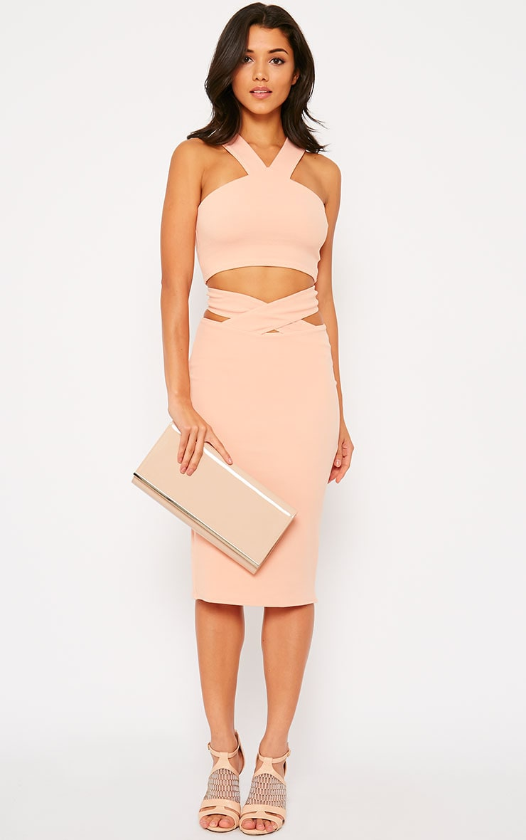 Shanel Nude Cut Out Midi Skirt 5