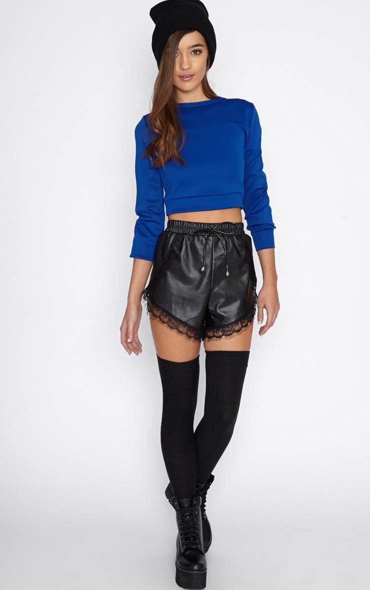 Grace Blue Cropped Scuba Sweater 5