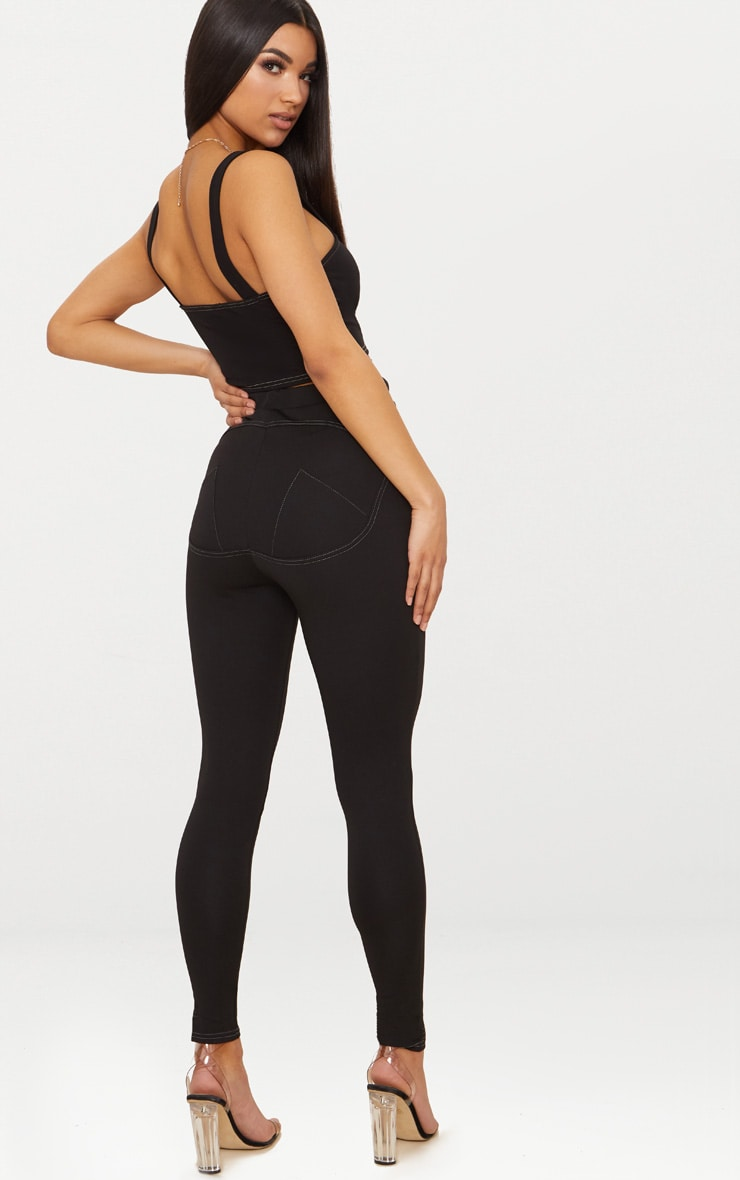 Black Contour Seam Push Up Leggings 1