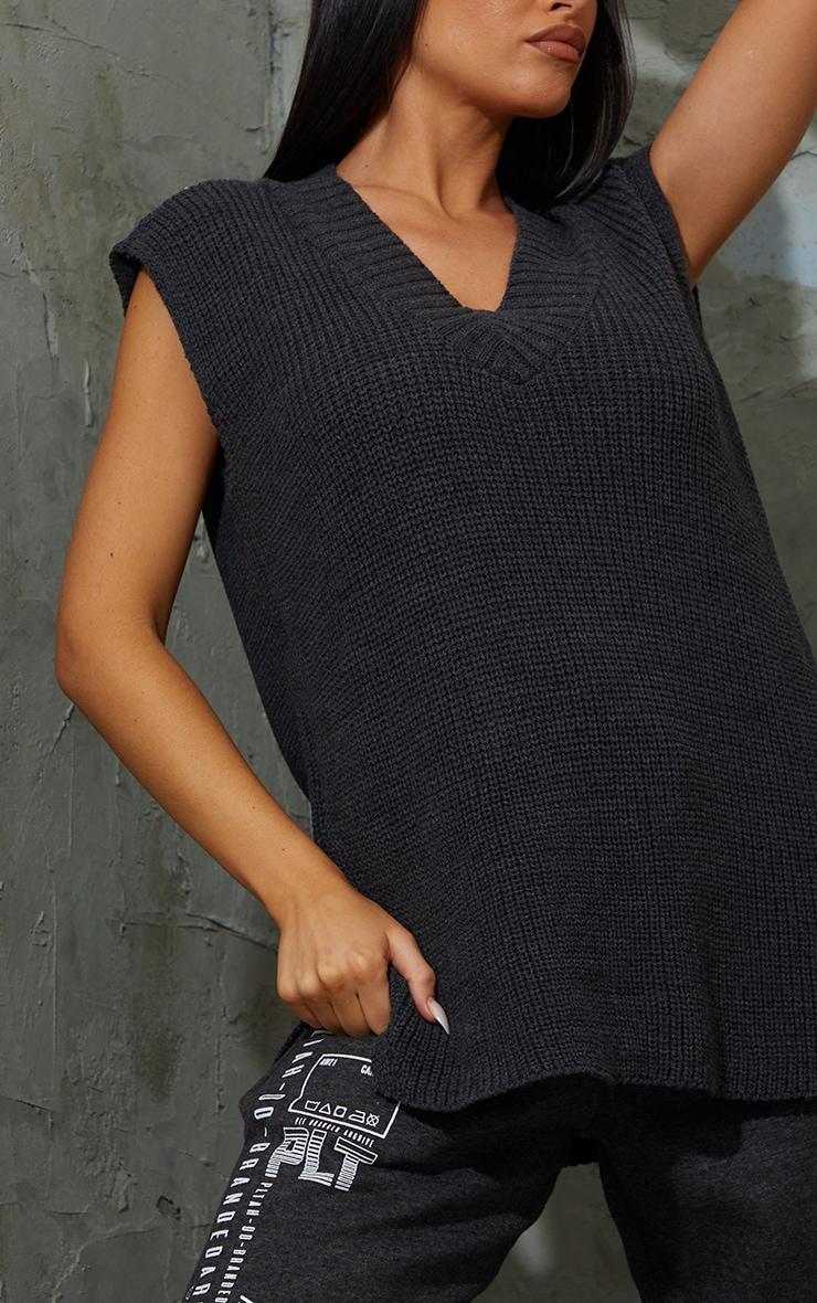Charcoal V Neck Knitted Side Split Vest 4