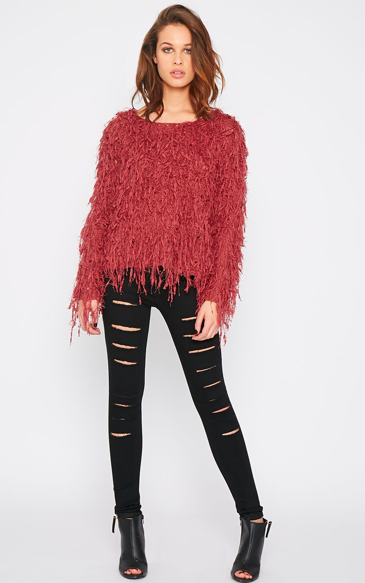 Alvery Wine Shaggy Knit Jumper  3