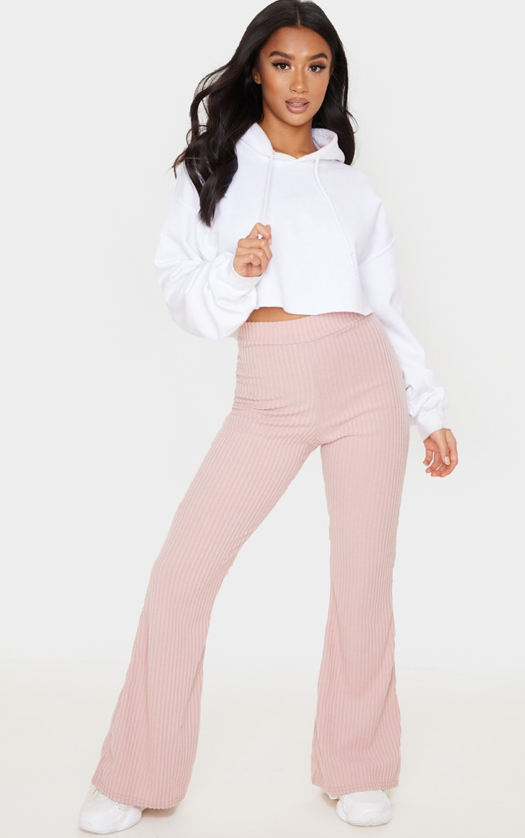 Petite Pink Brush Rib Wide Leg Pants 1
