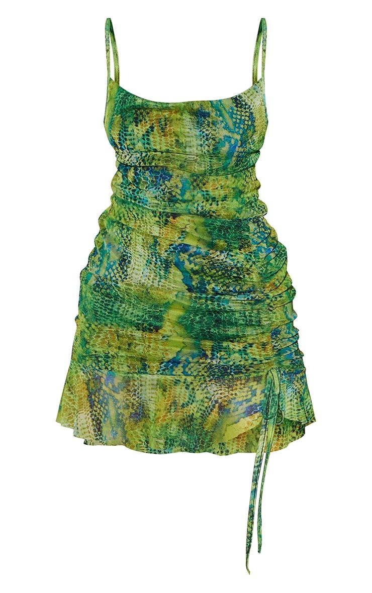 Green Mesh Croc Print Ruched Bodycon Dress 5