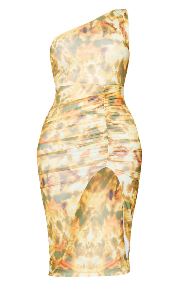 Shape Orange Tie Dye Mesh One Shoulder Ruched Midi Dress 5