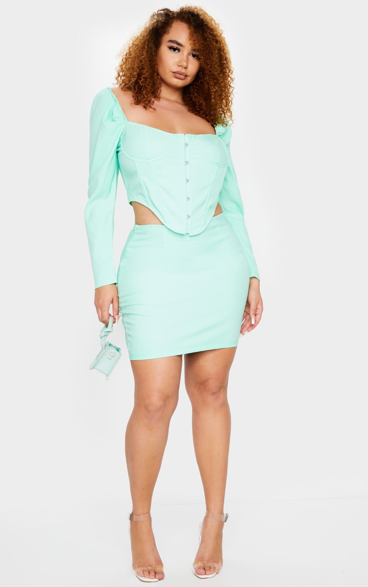 Plus Mint Puff Long Sleeve Bust Cup Corset 3