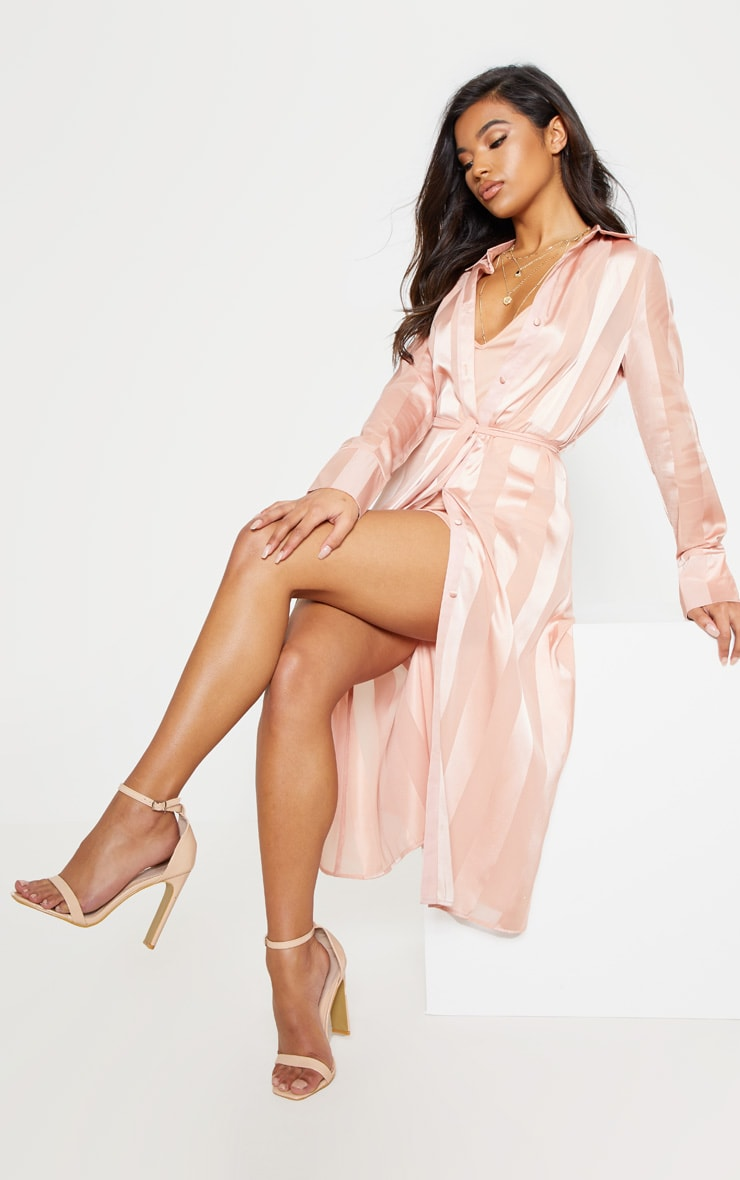 Champagne Satin Stripe Midi Shirt Dress 5