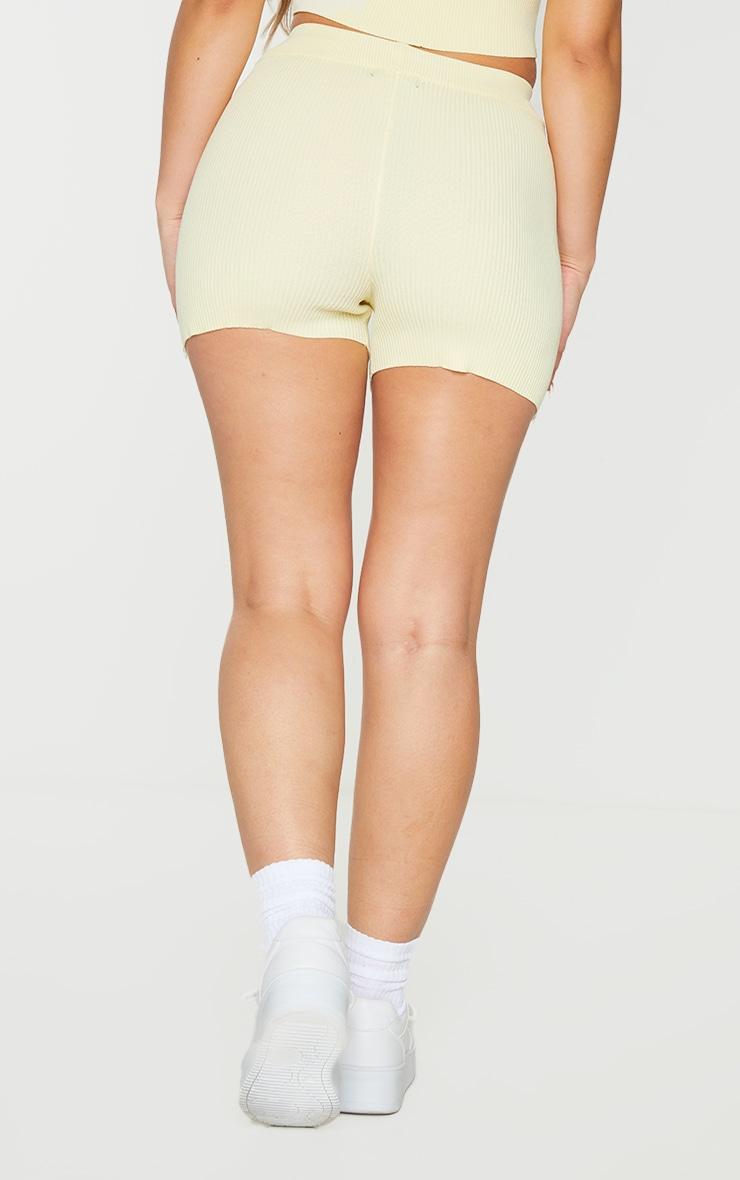 Lemon Ribbed Knitted High Waist Hotpant Shorts 3