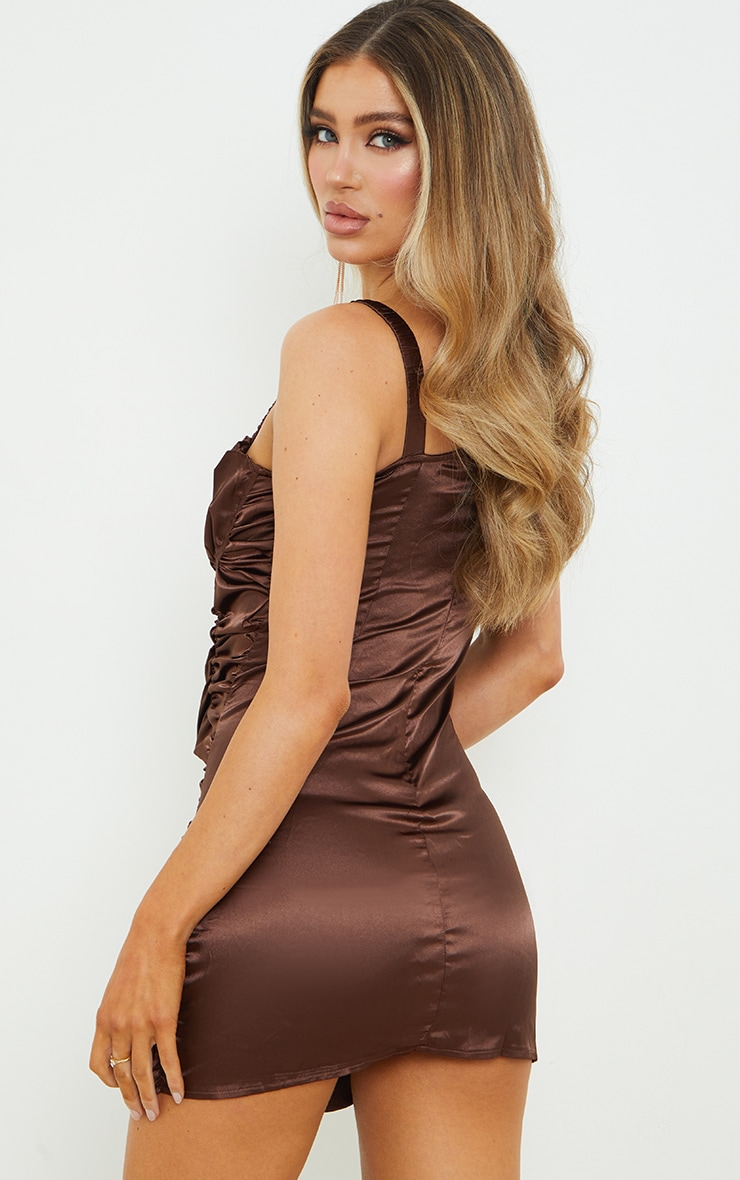 Chocolate Satin Ruched Cup Detail Elastic Strap Bodycon Dress 3