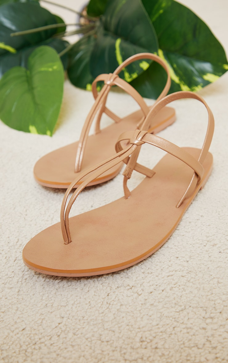 Bronze Real Leather PU Toe Thong Sling Back Sandals 3