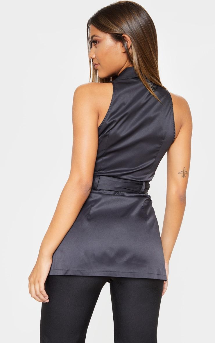 Black Sleeveless Peplum Shirt 2