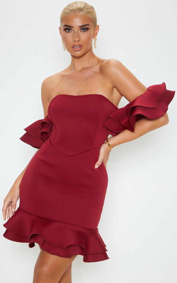 Burgundy Bonded Scuba Bardot Frill Hem Bodycon Dress 3