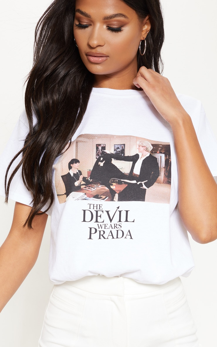T-shirt oversize blanc imprimé Devil wears Prada 4