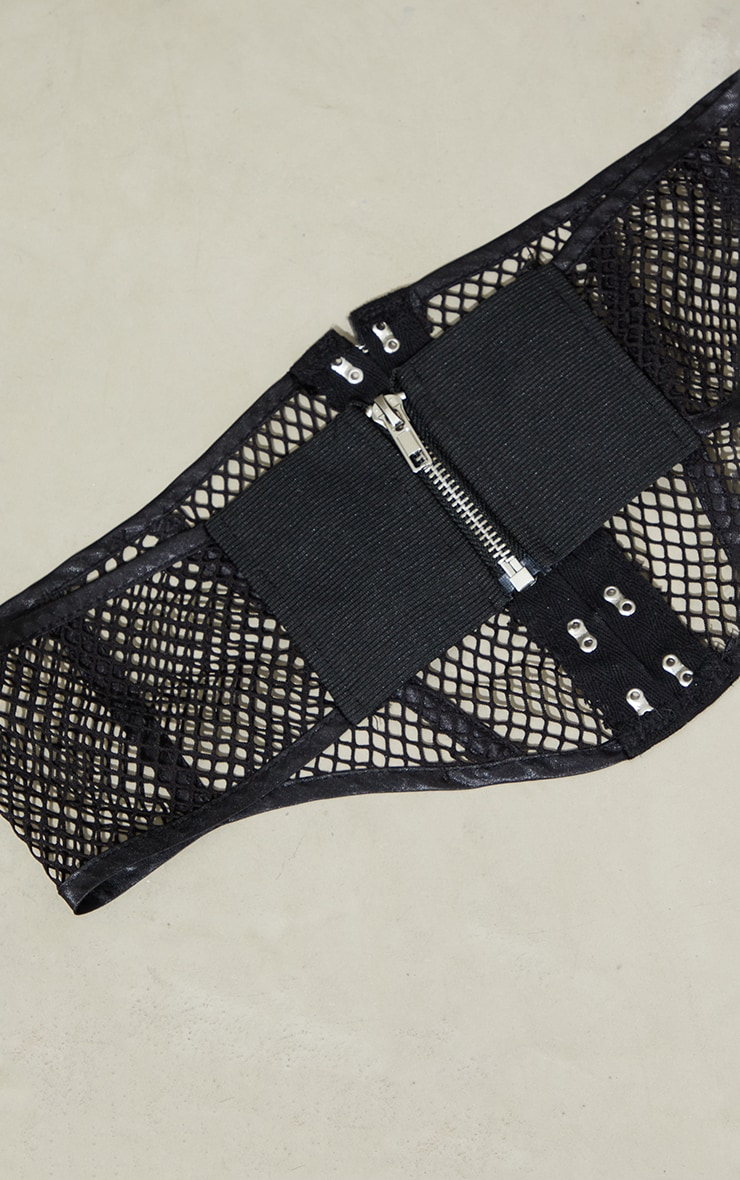 Black Mesh Buckle Up Corset Belt 3