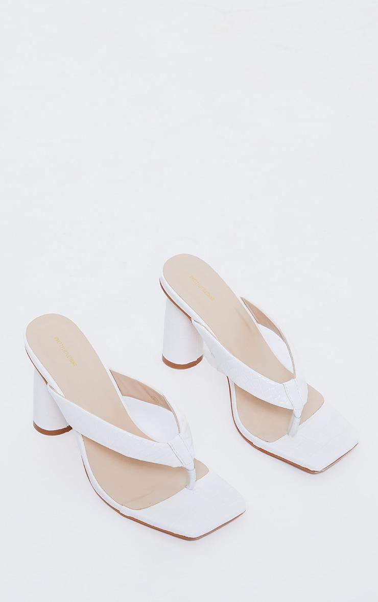 White Wide Fit PU Toe Thong Square Toe Circle High Heel Mules 3